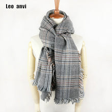 Leo anvi women winter shawl plaid fashion Houndstooth female long pashmina cashmere scarf luxury brand ponchos and capes - Songbird Deals