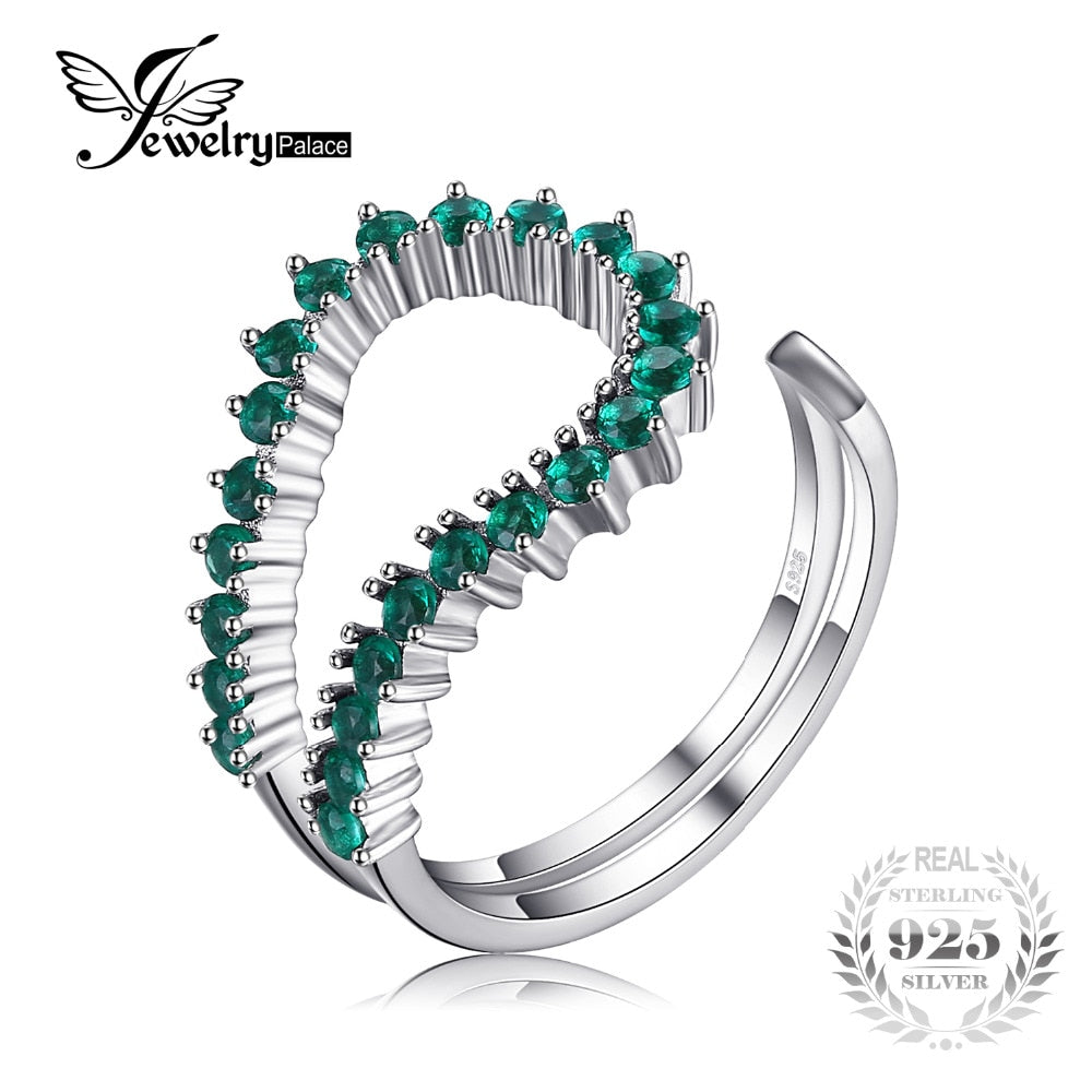 Ring. Jewelr yPalace Nano Russian Simulated Emerald Open Ring 925 Sterling Silver Rings Engagement Wedding Band New Arrival Gift - Songbird Deals