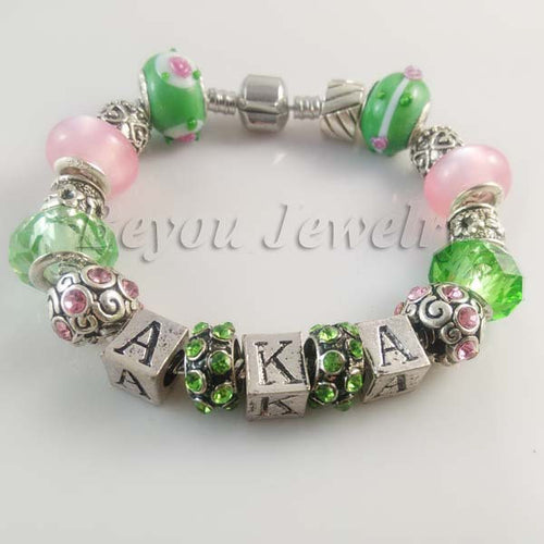 Bracelet.  AKA  Sorority BGLO 'Divine 9' charm bead  bracelet bangle 2pcs 1 lot - Songbird Deals