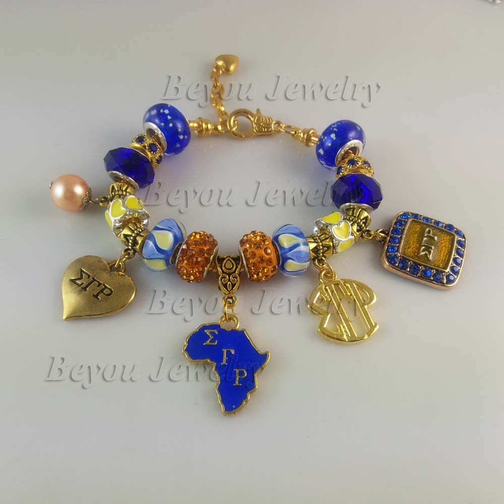 Bracelet .Sigma Gamma Rho Sorority BGLO 'Divine 9'   Bracelet SGR  charm bead  bangle - Songbird Deals