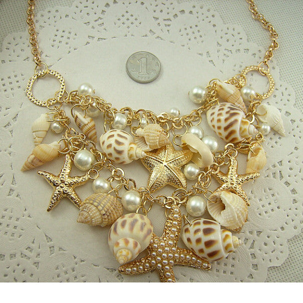 Necklace. Conch Shell Starfish Simulated pearl  Multitiered Necklace & Pendant - Songbird Deals