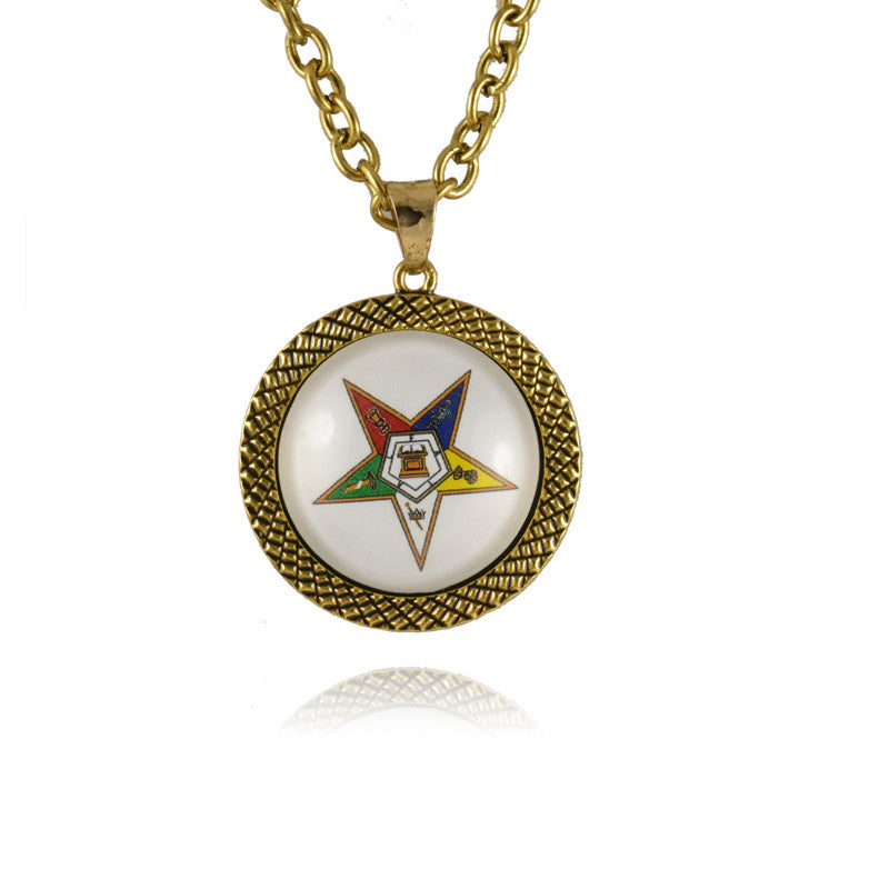 The order of the eastern star oes round shinny  Necklace Jewerly - Songbird Deals