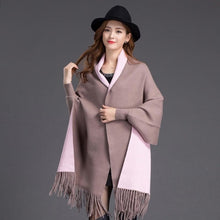 Autumn Winter warm poncho Knitted shawl Solid color Scarf faux cashmere Cardigan sweater - Songbird Deals