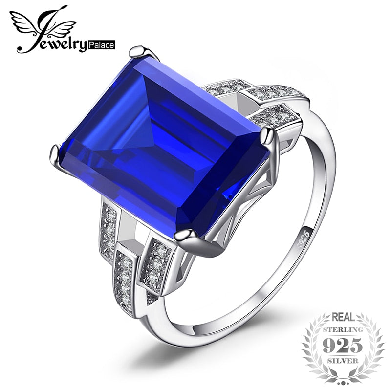 Ring. JewelryPalace Luxury Emerald Cut 9.6ct Created Blue Sapphire Cocktail Ring 925 Sterling Silver Ring for Fashion Women On Sale - Songbird Deals
