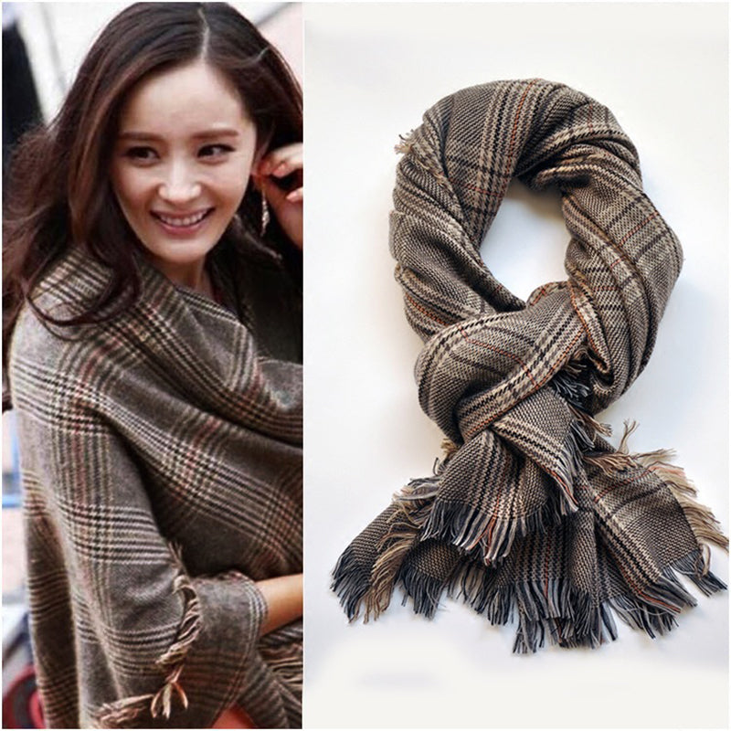 Luna&Dolphin Luxury Brand Women Cashmere Scarves 210x80cm Black White Plaid Big Shawls Swallow Gird Wraps Stole Shawl Pashmina - Songbird Deals