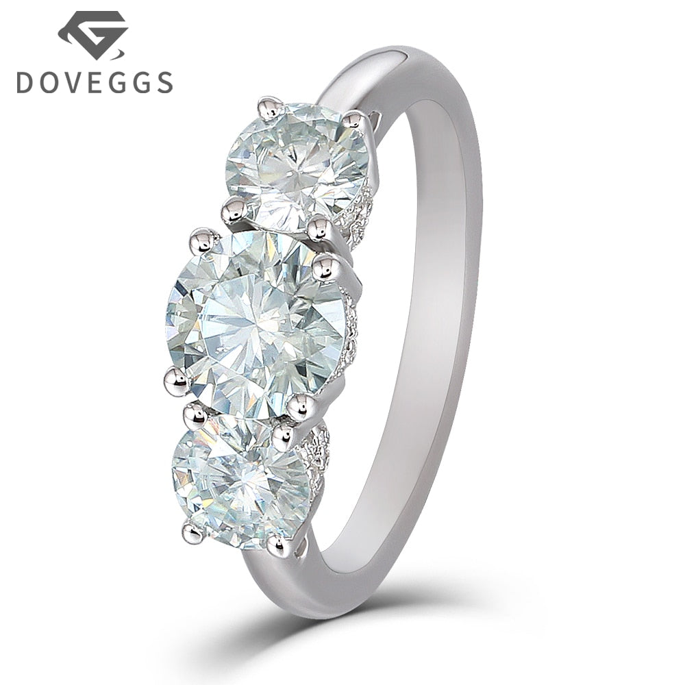 2.15CTW 2.4mm Band Width 5mm-6.5mm-5mm Brilliant Moissanite Engagement Ring with Accent Platinum Plated Silver - Songbird Deals