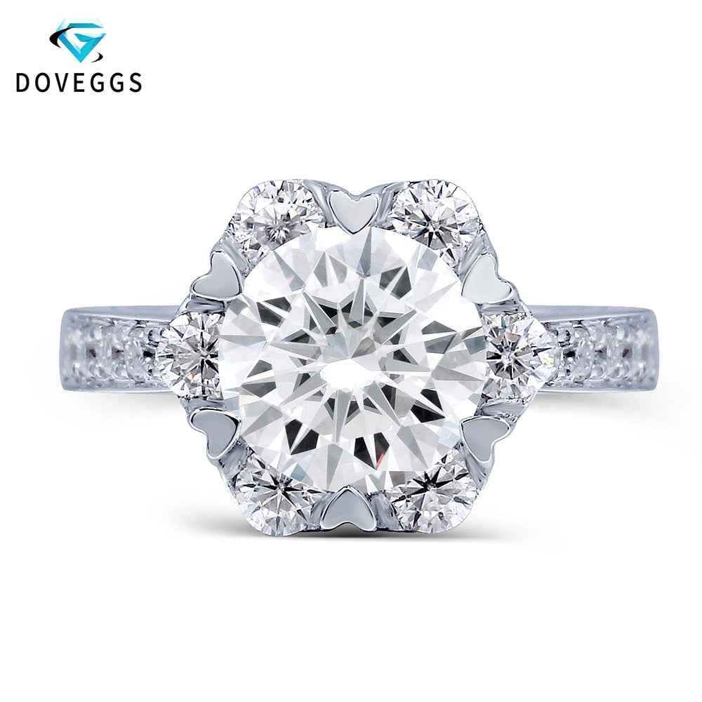 14K White Gold Center 1ct carat 6.5mm F Color Moissanite Diamond Halo Engagement Ring with Accents - Songbird Deals