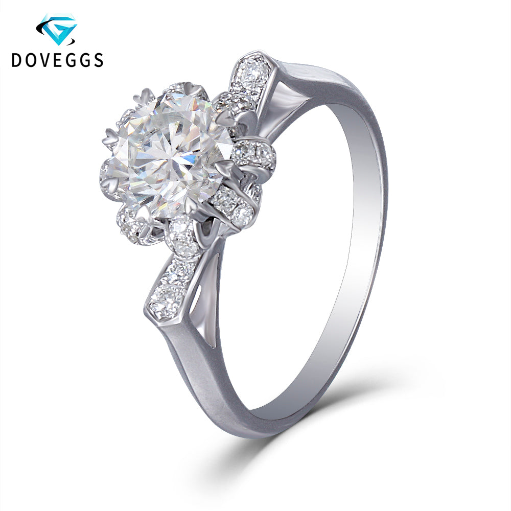 DovEggs 14K White Gold Center 1.5ct Carat 6.5mm F Color Octangle Cut Moissanite Diamond Engagement Rings  with Accents - Songbird Deals