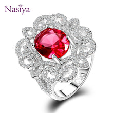 Luxury Silver 925 Jewelry Ring 9x11MM Red Ruby Gemstone Wedding Rings With AAAA Cubic Zirconia Top Quality Wholesale Jewelry - Songbird Deals