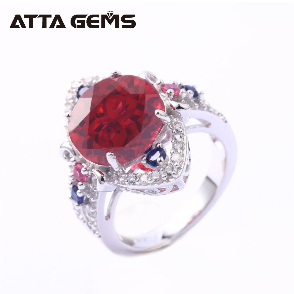 Red Ruby Sterling Silver Rings for Women 6.5 Carats Created Ruby S925 Rings Faced Cutting Birthday Gifts Party Jewelrys
