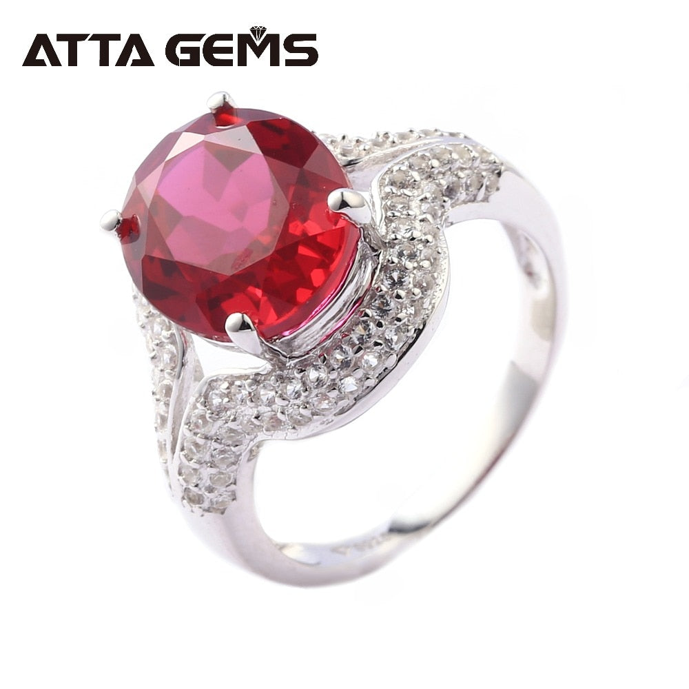 Red Ruby Sterling Silver Rings for Women 7 Carats Created  Faced Ruby Classic Style For Mother's Gifts Christmas Special Ring - Songbird Deals