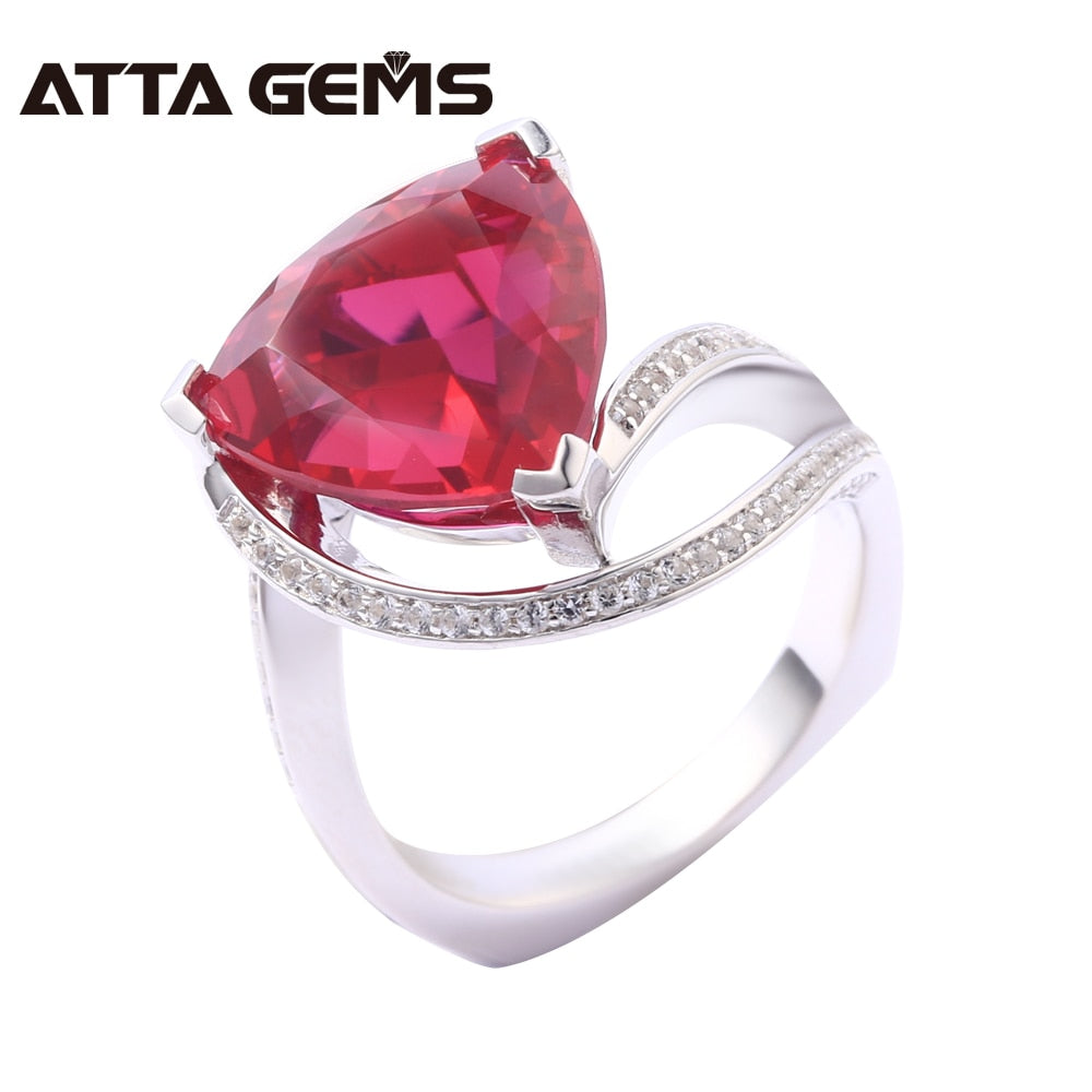 Ruby Sterling Silver Rings for Wedding Engagement Romantic Style 9 Carats Created Ruby Gemstone Vivid Red Fine Jewelry - Songbird Deals