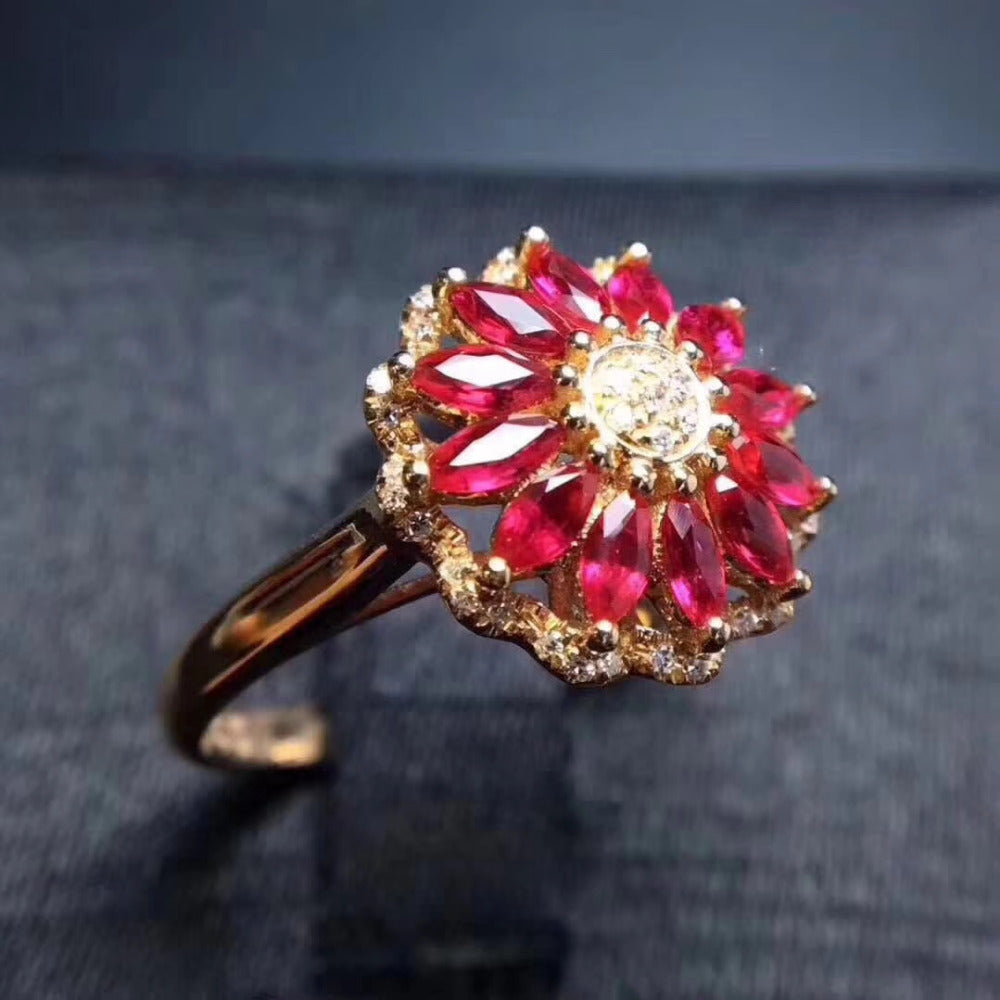 Ring.Luxurious big round Sunflower Natural red ruby gem Ring Natural gemstone ring S925 silver women wedding gift fine Jewelry - Songbird Deals