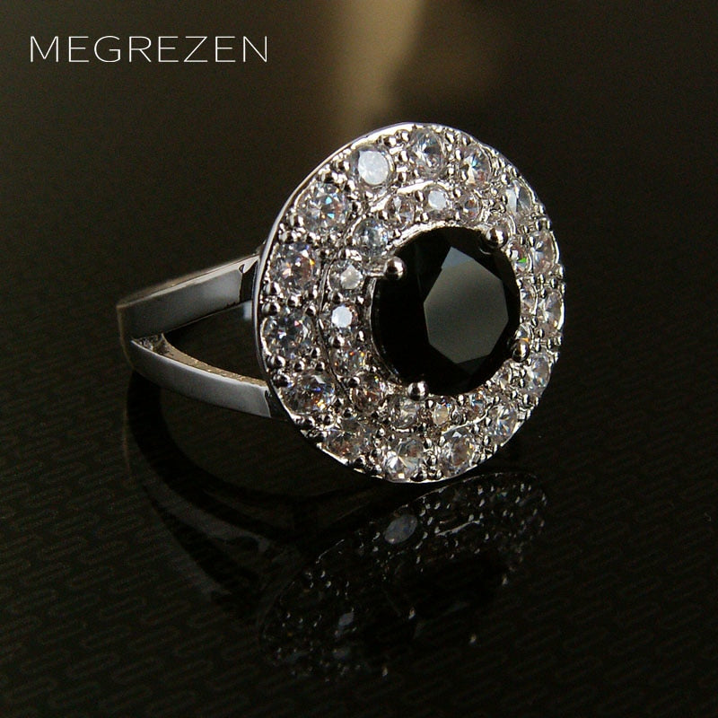 MEGREZEN Large Black Ring Party Silver Jewelry Ornamentation Aneis Feminino Wedding Rings With Stones - Songbird Deals