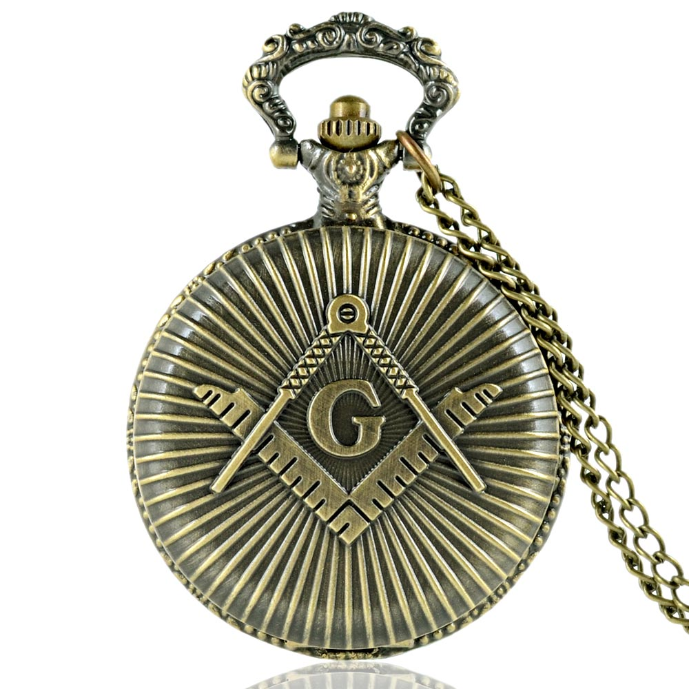 Watch. Classic Vintage Bronze Masonic Design Quartz Pocket Watch Retro Men Women Necklace Pendant Jewelry Gifts