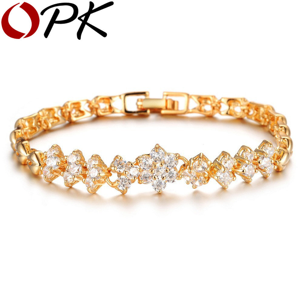 Bracelet. Gold Plated Bracelet White Stones Zirconia  Jewelry Bangle Wholesale Accessories 429 - Songbird Deals