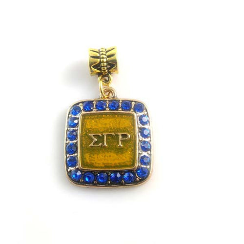 Sigma Gamma Rho Sorority BGLO 'Divine 9' enamel  charm with Ring   SGR square crystal charm 5pcs 1lot - Songbird Deals