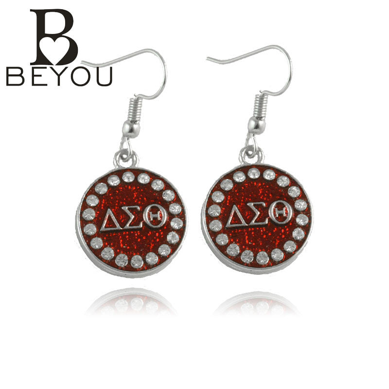 DST charm BGLO 'Divine 9'   Earring Delta Sigma Theta Sorority  Round  earring - Songbird Deals