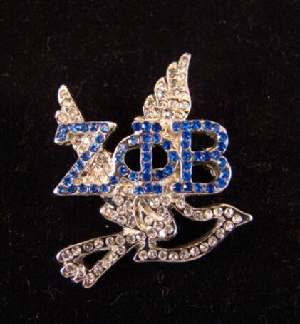 ZETA PHI BETA  Crystal Greek Letter with Dove Lapel Pin 5 pieces; 1 lot - Songbird Deals
