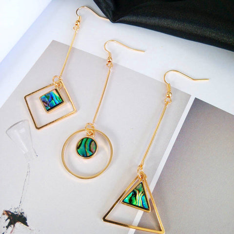 Triangle, Square, and Circle Geometry Earrings