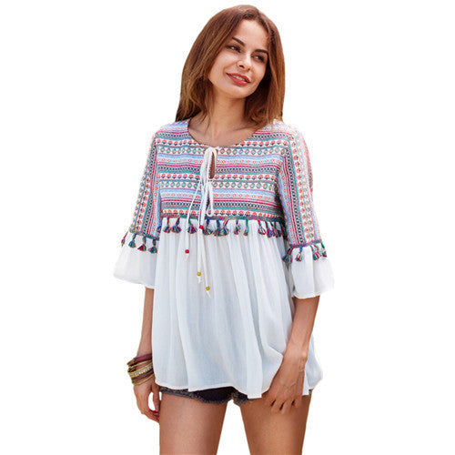 SheIn Women's Summer Casual Top Multicolor Tribal Print - Grab and Go Central