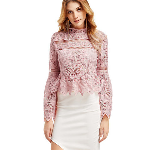 SheIn Pink Long Sleeve Top for Women - Grab and Go Central