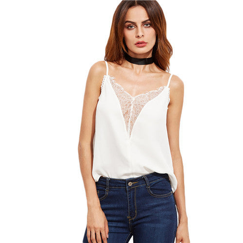 SheIn White Top For Women Fall Camisoles For Women Spaghetti Strap Floral Lace - Grab and Go Central