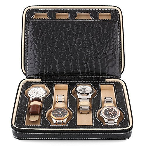 Amzdeal 8 Slots Watch Display Box Front