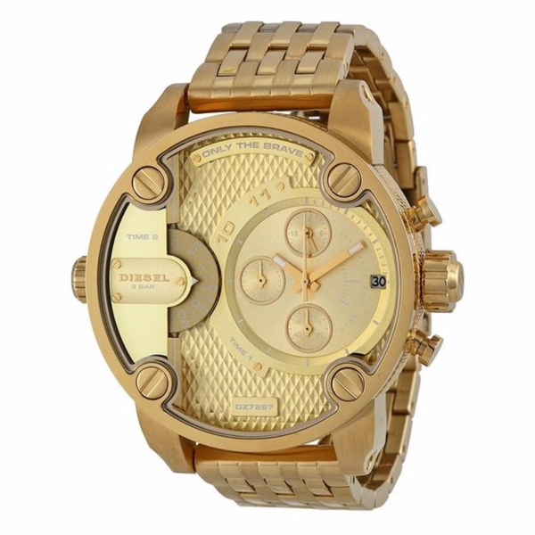 Diesel Little Daddy Dual Time Chronograph Gold-tone Dial Steel Men's Watch DZ7287