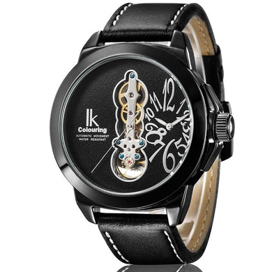 IK Men Big Case Watch Tourbillon Black Leather Strap Black Rose White Dial Automatic New Design Wristwatch - Levers Escape- Mens and Women's Luxury Watches, Fashion Accessories & Literature