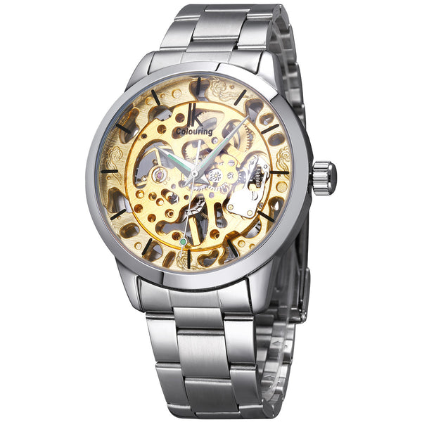IK Colouring Brand Mechanical Hand Wind Watch Hollow Luminous Hardlex Full Stainless Steel