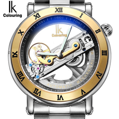 Men's IK Modern Hollow Skeleton Style Luxury Watches Quartz Wristwatch Jewelry Stainless Steel