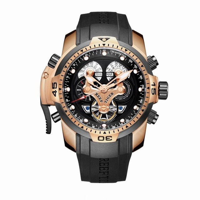 Reef Tiger/RT Men's Sports Watch Black Dial Black Leather Rose Gold Trim Automatic RGA3503 - Levers Escape- Men's/Women's Luxury Watches, Fashion Items, Accessories, Literature & More