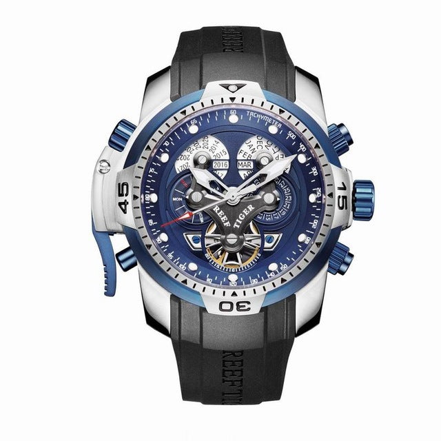 Reef Tiger/RT Mens Sports Watch with Year Month Week Day Calendar Steel Complicated Blue Dial Automatic Watches RGA3503 - Levers Escape- Men's/Women's Luxury Watches, Fashion Items, Accessories, Literature & More
