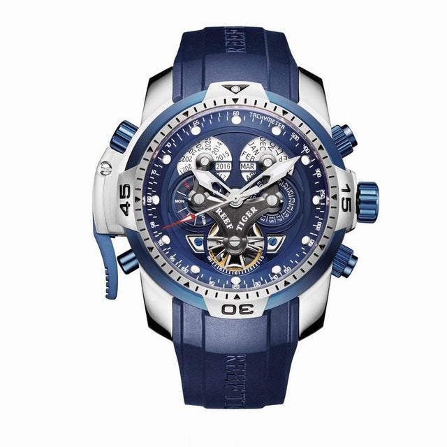 Reef Tiger/RT Designer Men's Sports Watch Blue Dial Stainless Steel Case Blue Strap RGA3503 - Levers Escape- Men's/Women's Luxury Watches, Fashion Items, Accessories, Literature & More
