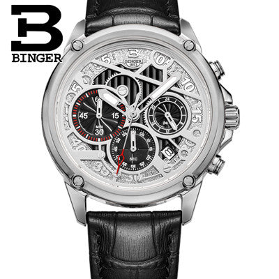 BINGER Luxury Men's Modern Design Quartz Watch