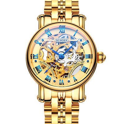 Women's BINGER Luxury Mechanical Hollow Watch Model B-5066L2 Gold