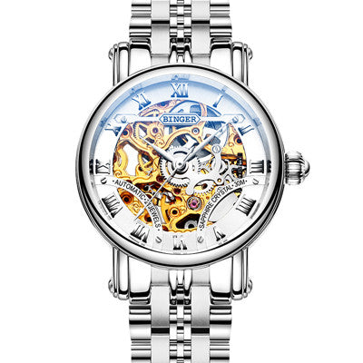Women's BINGER Luxury Mechanical Hollow Watch