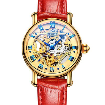 Women's BINGER Luxury Mechanical Hollow Watch Model B-5066L2 Red Strap