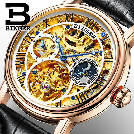 50% OFF Special This Month Only BINGER Men's Gold Luxury Watch Dual Tourbillon Hollow Genuine Leather Band - Levers Escape- Mens and Women's Luxury Watches, Fashion Accessories & Literature