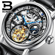 BINGER Men's Gold Luxury Watch Dual Tourbillon Hollow Genuine Leather Band - Levers Escape- Men's/Women's Luxury Watches, Fashion Items, Accessories, Literature & More