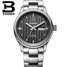 Genuine Swiss BINGER Brand Men's Modern Quartz Watch Model B6012 Stainless Steel WIth Black Face & White Accents