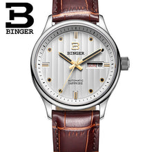 Genuine Swiss BINGER Brand Men's Modern Quartz Watch Model B6012 Stainless Steel WIth Leather Straps & Pinkish White Face With Gold And Black Dials