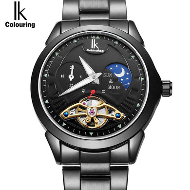 IK Colouring Luxury Men's Moon Phase Full Steel Band - Levers Escape- Men's/Women's Luxury Watches, Fashion Items, Accessories, Literature & More