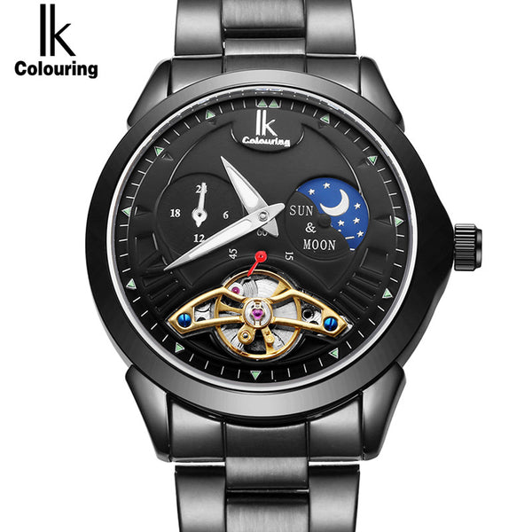 IK Colouring Luxury Men's Moon Phase Full Steel Band Automatic Mechanical Watches - Levers Escape- Mens and Women's Luxury Watches, Fashion Accessories & Literature