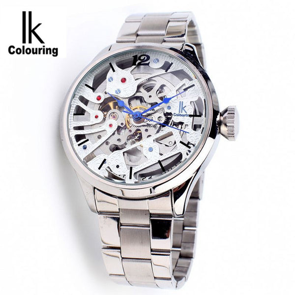 IK Colouring Men Watch Luxury Brand Mechanical Watches Skeleton Full Steel Fashion White Face Stainless Steel