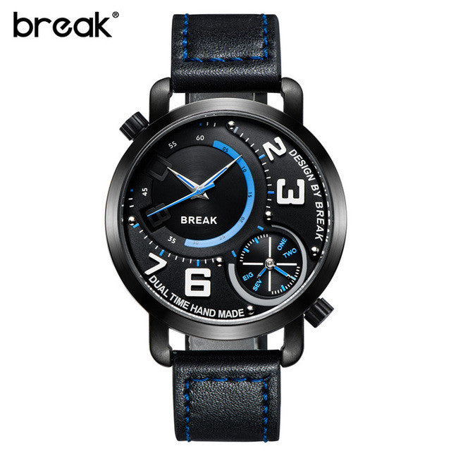 Break Luxury Men's Sports Leather Band Waterproof Wristwatches Dual Time Zone Quartz Watches Black And Blue