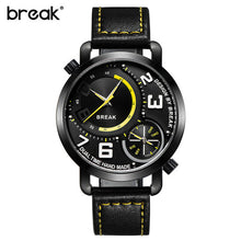 Break Luxury Men's Sports Leather Band Waterproof Wristwatches Dual Time Zone Quartz Watches Black And Yellow
