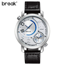 Break Luxury Men's Sports Leather Band Waterproof Wristwatches Dual Time Zone Quartz Watches Black And White