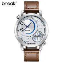 Break Luxury Men's Sports Leather Band Waterproof Wristwatches Dual Time Zone Quartz Watches Brown And White